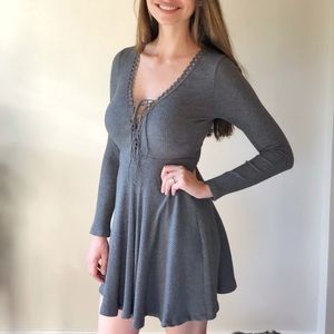 Gray Skater Dress with lace up front
